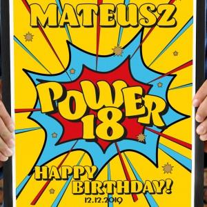 plakat personalizowany na prezent na 18 wystrzałowe urodziny