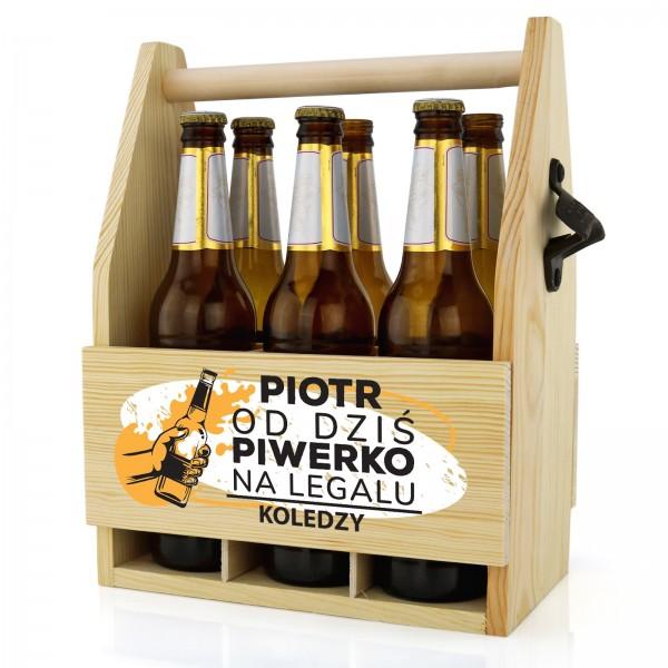 skrzynka na piwo z imieniem na prezent dla 18 piwerko