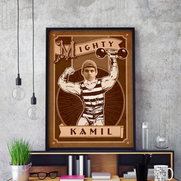 plakat ze zdjęciem na urodziny siłacz