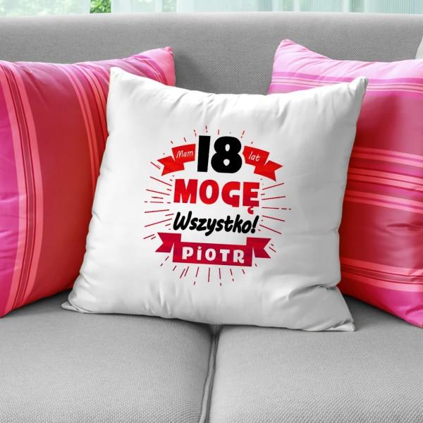 poduszka z nadrukiem na prezent na 18 dla kolegi mogę wszystko