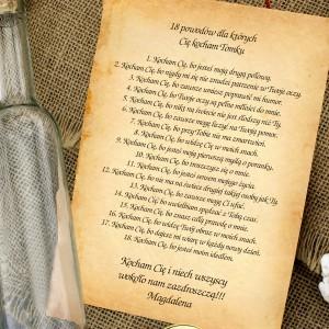 romantyczny prezent na 18 dla chłopaka list w butelce z personalizacją