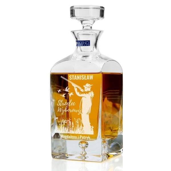 karafka do whisky z grawerem na prezent dla myśliwego na urodziny strzelec wyborowy