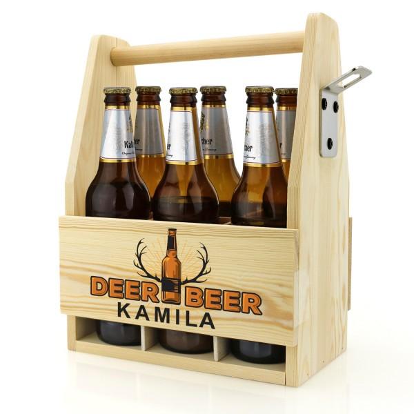 drewniana skrzynka z kolorowym nadrukiem z imieniem na prezent dla piwosza
