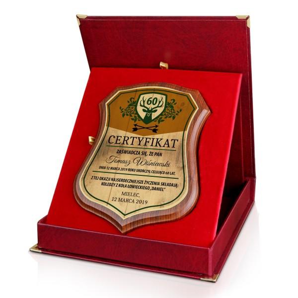 certyfikat z dedykacją na elegancki prezent dla myśliwego