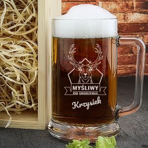 kufel do piwa z grawerem na prezent dla myśliwego od urodzenia