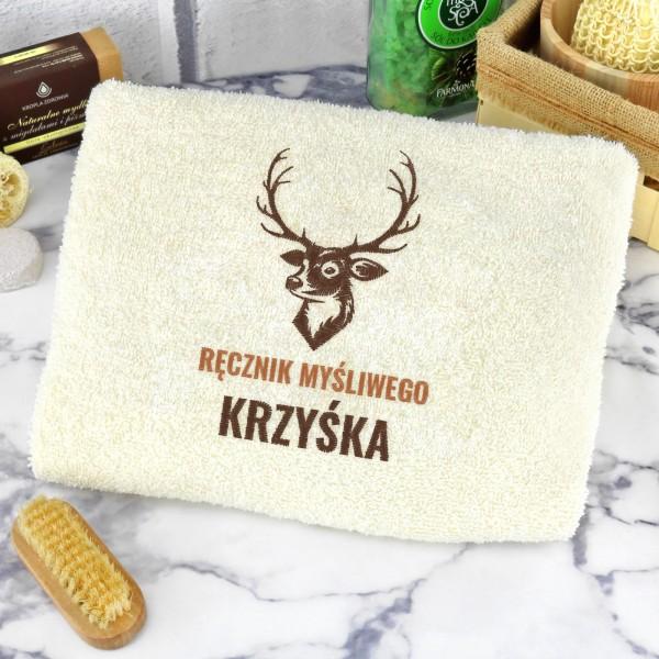 ręcznik z haftem na prezent dla myśliwego