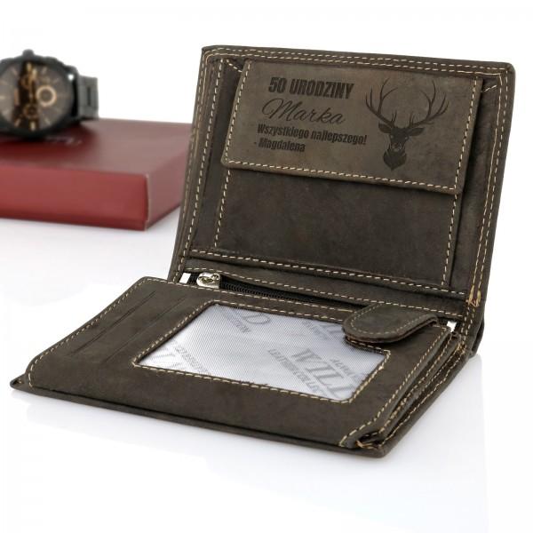 portfel męski z dedykacją na prezent dla myśliwego
