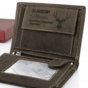 portfel męski skórzany z grawerem na prezent dla myśliwego na urodziny