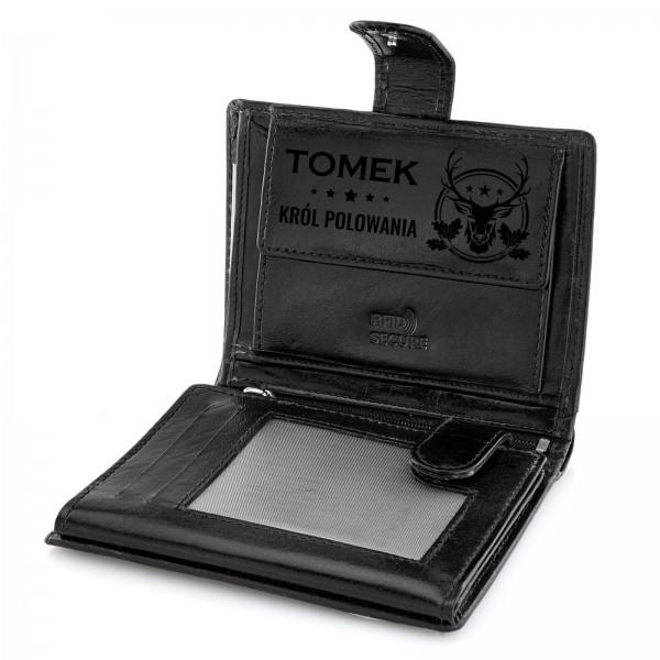 portfel skórzany męski z grawerem dla myśliwego