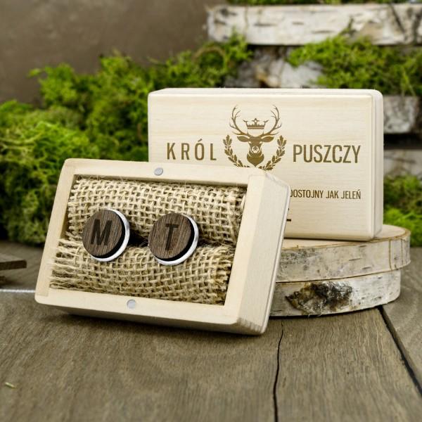 spinki z grawerem w drewnianym pudełku na prezent dla myśliwego dostojny