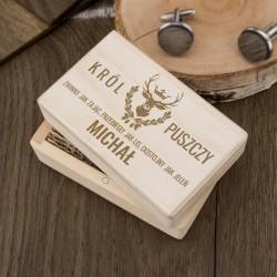 prezent dla myśliwego na urodziny drewniane spinki do koszuli w pudełku z grawerem