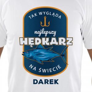 śmieszny prezent dla wędkarza koszulka z własnym napisem i imieniem najlepszy wędkarz