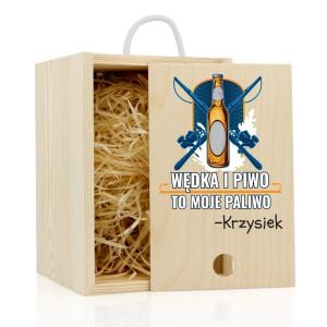 skrzynka na kufel z nadrukiem wędka i piwo na śmieszny prezent dla wędkarza