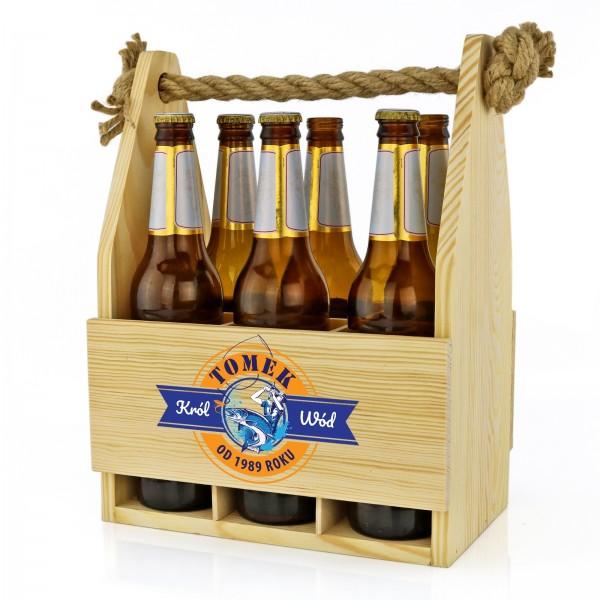 skrzynka na piwo z nadrukiem na prezent dla rybaka