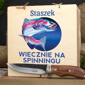 grawerowany nóż w skrzynce z nadrukiem na spinningu na prezent dla wędkarza
