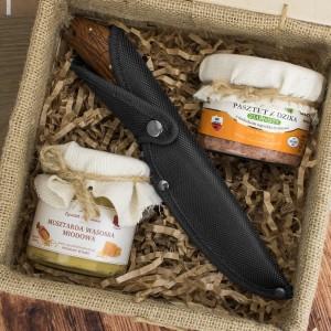 skrzynka delikatesowa z nożem na praktyczny prezent dla wędkarza