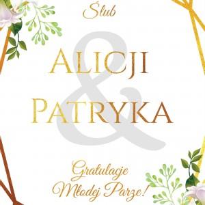 kartka na ślub z imionami na prezent dla nowożeńców gratulujemy młodej parze