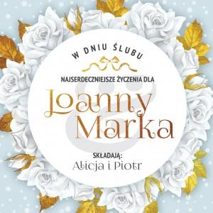 kartka z okazji ślubu z personalizacją białe róże