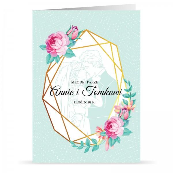 kartka na ślub z imionami młodej parze