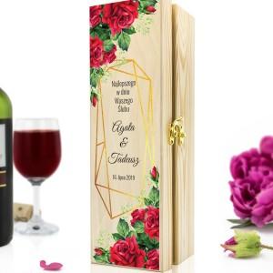 skrzynka na wino z nadrukiem czerwone róże na prezent na ślub