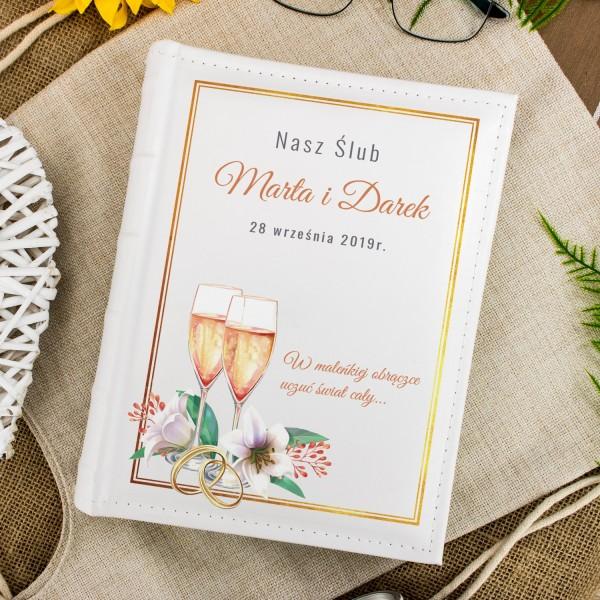 skórzany album na zdjęcia z nadrukiem na prezent ślubny nasz ślub