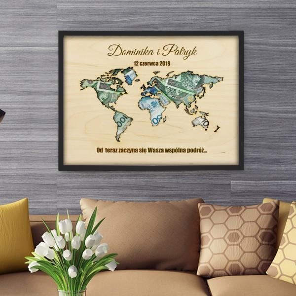 ramka na pieniądze z imionami na prezent na ślub mapa wspólna podróż