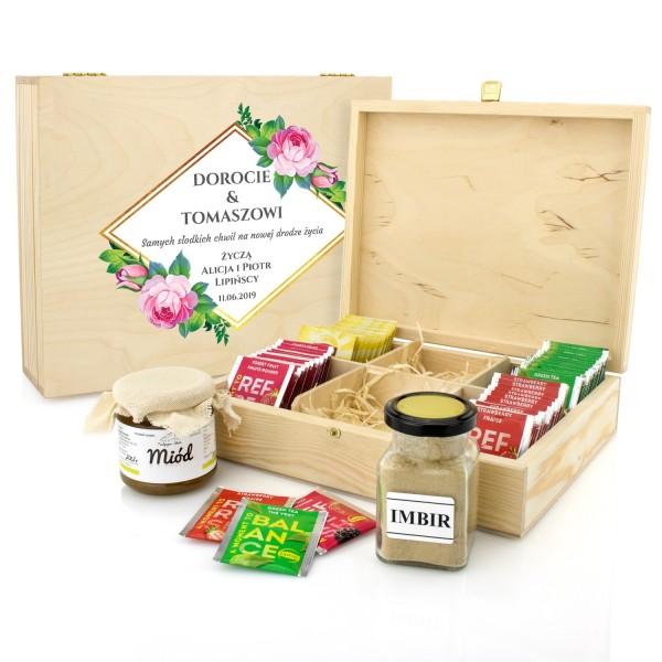 zestaw herbat w skrzynce z imbirem i miodem na prezent z okazji ślubu