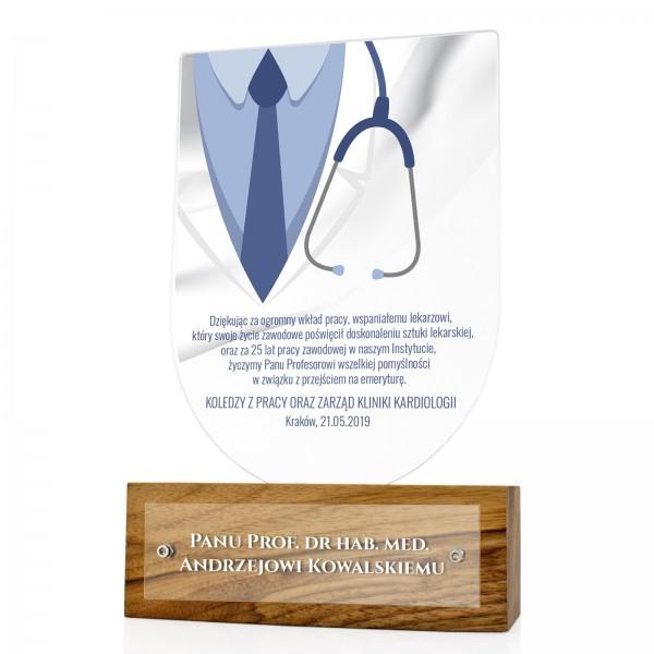 prezent dla lekarza na emeryturę statuetka z nadrukiem dedykacji stetoskop