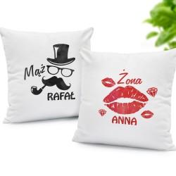 poduszki z nadrukiem na prezent ślubny żona i mąż