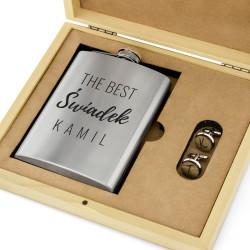 piersiówka na prezent dla świadka weselnego ze spinkami w pudełku