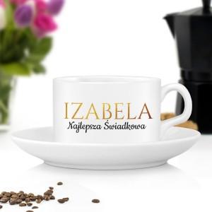 filiżanka do kawy z imieniem na podziękowanie dla świadkowej w złocie