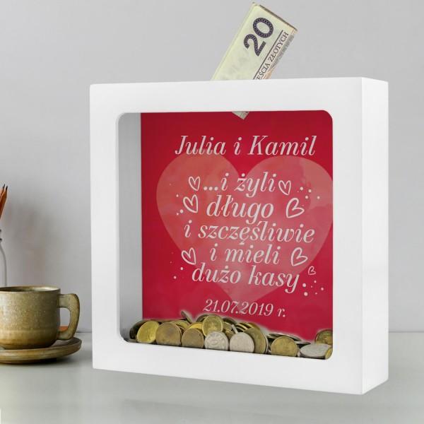 skarbonka z personalizacją prezent na ślub
