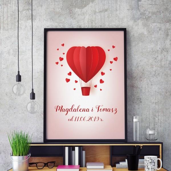 plakaty do druku z personalizacją w ramie na prezent na ślub balon miłości