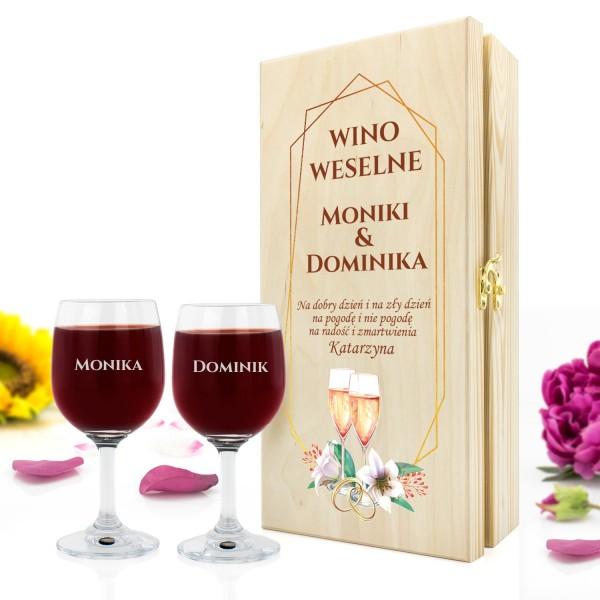 skrzynka na wino z kieliszkami z grawerem na fajny prezent na ślub
