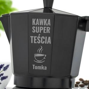 personalizowana kawiarka z dedykacją na praktyczny prezent dla teścia