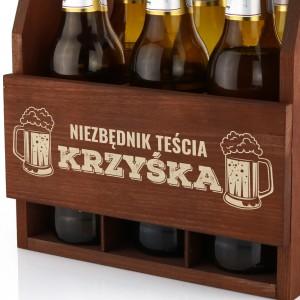 drewniana skrzynka na piwo na śmieszny prezent dla teścia