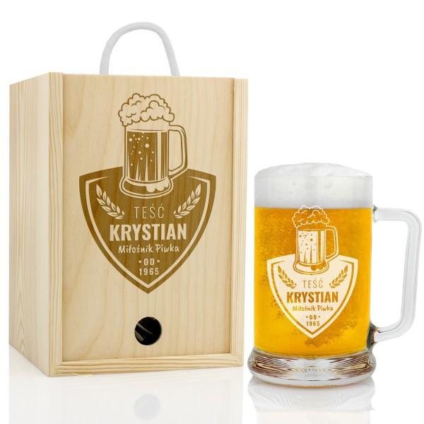 kufel do piwa w skrzynce z grawerem na prezent dla teścia