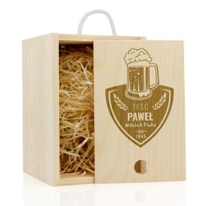 skrzynka drewniana z grawerem na prezent dla teścia na imieniny miłośnik piwka