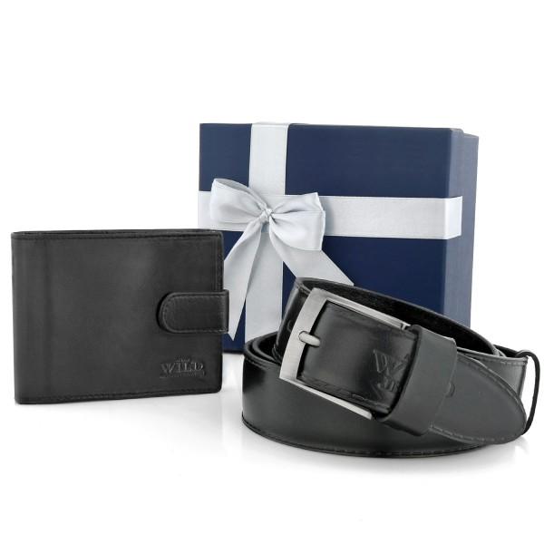 portfel męski z paskiem w pudełku na prezent dla teścia