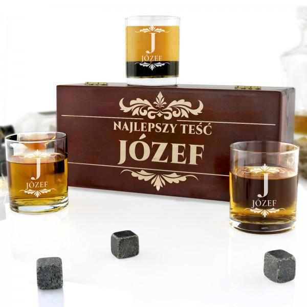 szklanki do whisky w pudełku z grawerem na prezent dla teścia