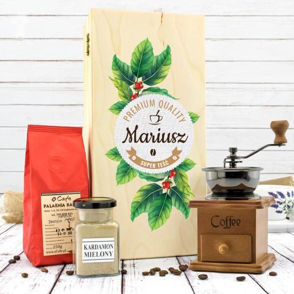 zestaw prezentowy dla teścia: młynek, kawa i kardamon w drewnianej skrzynce premium