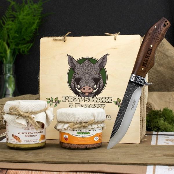 zestaw upominkowy w skrzynce z nadrukiem i grawerowanym nożem na fajny prezent dla teścia