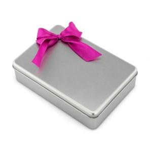 pudełko prezentowe metalowe ze wstążką