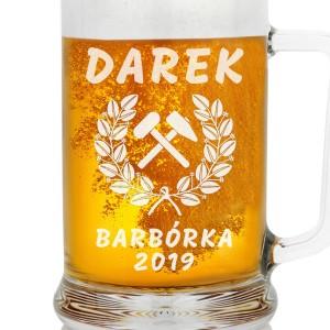 kufel na piwo z imieniem na prezent na dzień górnika barbórka