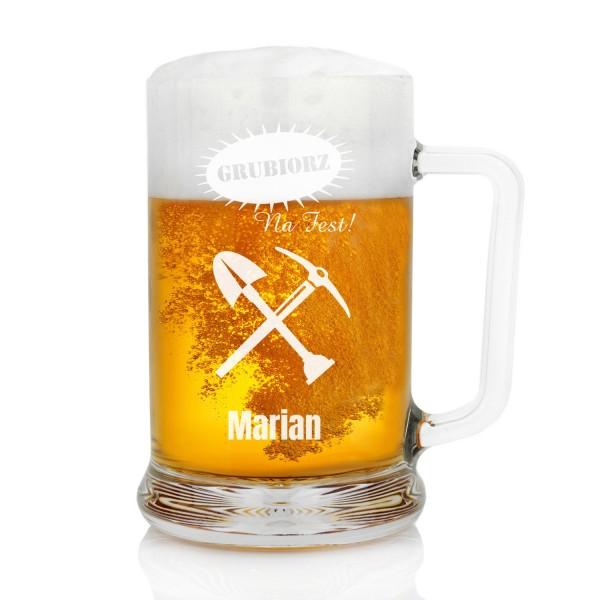 kufel do piwa z grawerem na prezent dla górnika