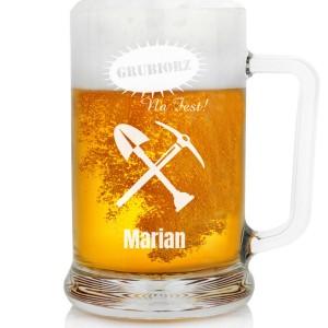 grawerowany kufel do piwa na prezent na barbórkę dla górnika na fest