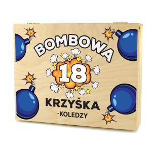 pudełko na 18 z nadrukiem na prezent dla kolegi bombowa 18