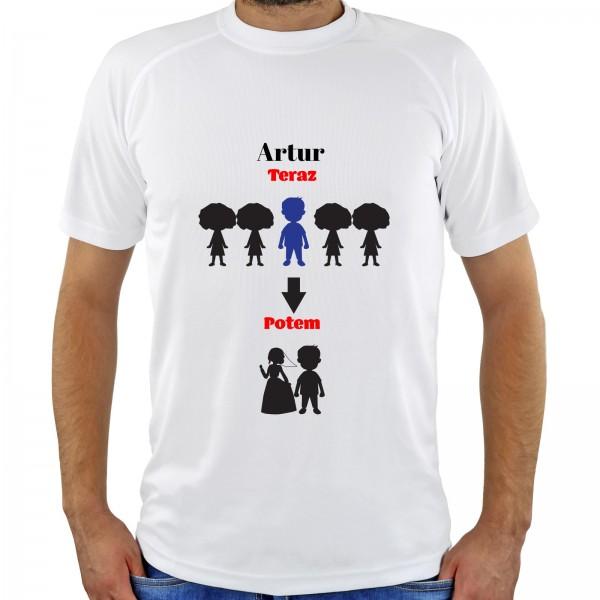 koszulka z nadrukiem imienia na prezent na kawalerski teraz i potem