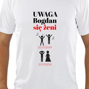 koszulka z nadrukiem imienia na prezent na wieczór kawalerski się żeni