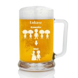 kufel do piwa z grawerem na prezent na kawalerski ewolucja mężczyzny
